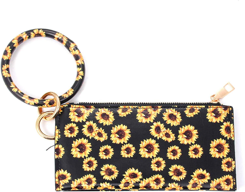 Infgreate Women Leopard Faux Leather Key Chain Wristlet Cash Pocket Card Zip Wallet Clutch Gift
