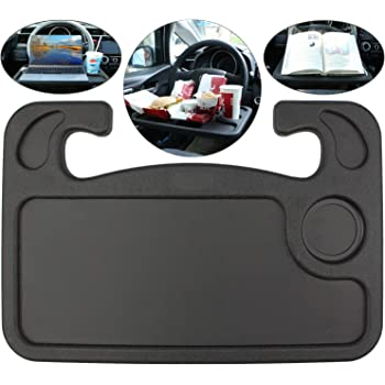 Spurtar Steering Wheel Desk (2in1) Auto Car Steering Wheel Tray for Computer, Food, Snack, Lunch, Drinking, Car Laptop Desk/Eating Table - Universal Fits Most Vehicles Steering Wheels (Black)