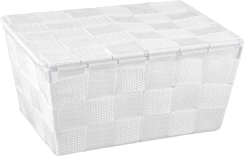 WENKO Cesta para el baño Adria con tapa blanca - cesta para el baño, Polipropileno, 19 x 10 x 14 cm, Blanco