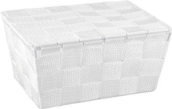 WENKO Adria kosz do przechowywania z pokrywką, biały – kosz łazienkowy, polipropylen, 19 x 10 x 14 cm, biały