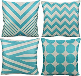 All Smiles Aqua Outdoor Throw Pillow Covers Cases Decorative Cushion Home Decor Accent Square 18 x 18 Set of 4 for Couch Sofa Patio Bed Living Room,Geometry