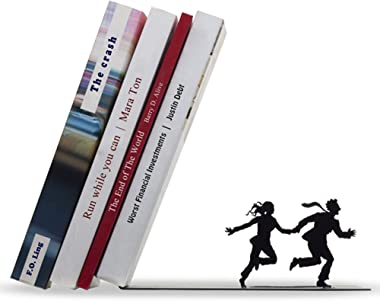 Artori Design Decorative Bookends for Shelves - Black Metal Book End - Book Stopper - Shelf Divider - Funny Book Holder - Boo