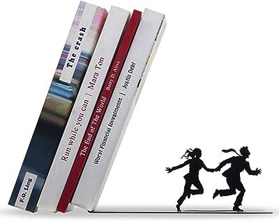 Artori Design Decorative Bookends for Shelves - Black Metal Book End - Book Stopper - Shelf Divider - Funny Book Holder - Bookshelf Decor - Unique Book Ends - Shelf Organizer - Runaway Bookend