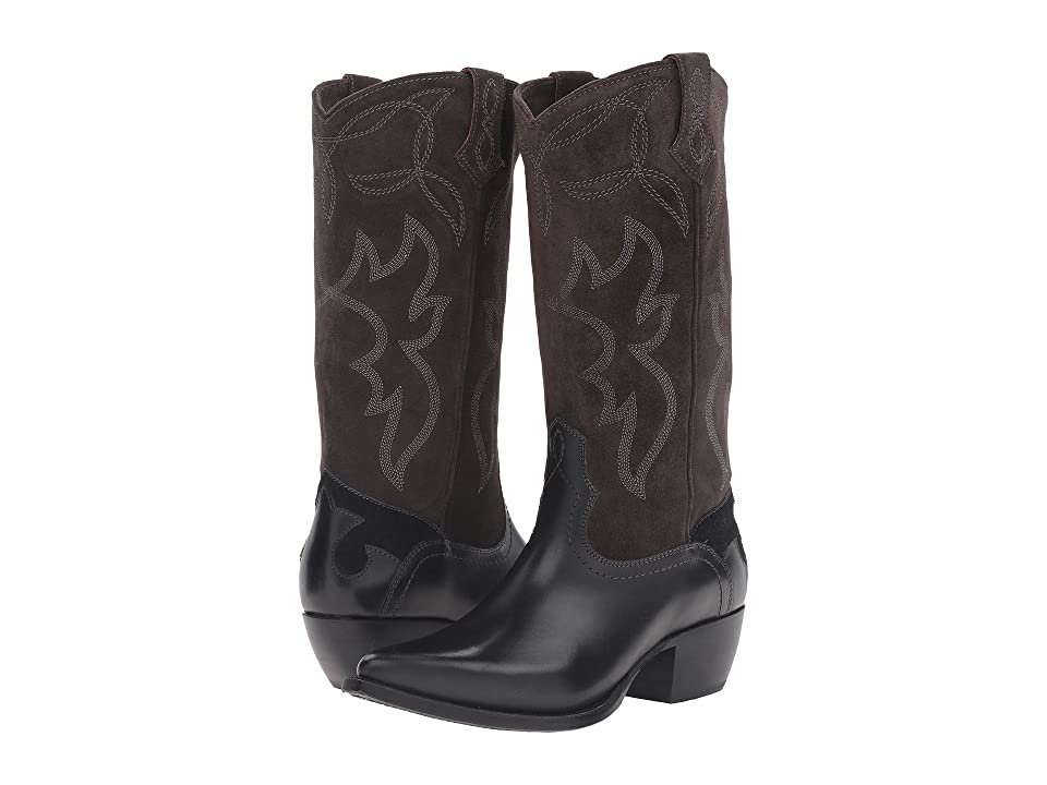 Frye Shane Embroidered Tall (Charcoal Smooth Veg Calf) Cowboy Boots