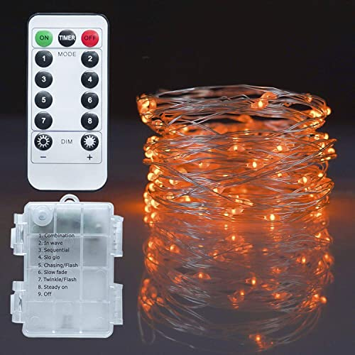 high quality Twinkle Star Fairy Lights, 33ft 100 LED Battery Operated Waterproof String Lights with Remote, Timer & 8 Lighting outlet sale Modes online Indoor Outdoor Wedding Party Decorations, Orange, 1 Pack online sale