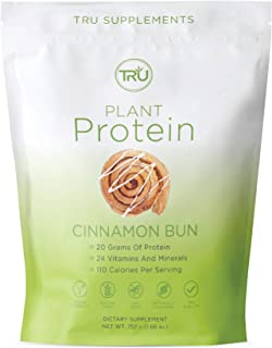 TRU Plant Based Protein Powder, Natural Flavor, Vegan & Keto Friendly, No Artificial Sweeteners, No Dairy, No Soy, 25 Serv...