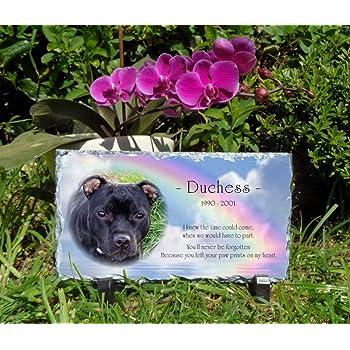 Snailprint Pet Memorial Slate Plaque Personalised Rectangular 1 Blue Sky