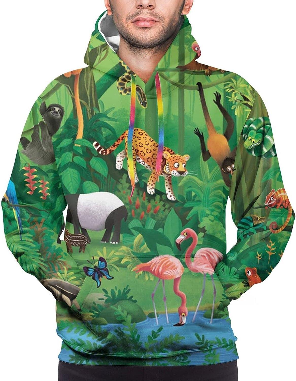 Hoodie For Mens Womens Teens Tropical Jungle Animals 3d Printed Hooded Sweatshirt
