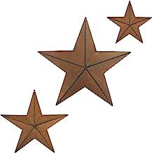CVHOMEDECO. Primitives Rustic Antique Vintage Gifts Metal Barn Star Wall/Door Decor, 12/8/5.5 Inch, 3 PCS/Set.