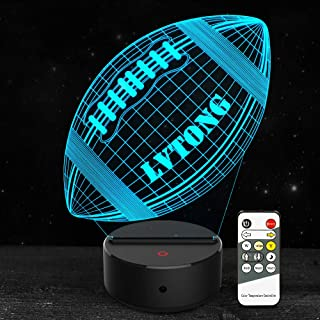 3D Lamp Football Rugby Night Light Optical Illusion Lamp Lvtong 7 Color Changing with Remote Birthday Christmas Gifts for Boys Men Teenager Football Fans Nursery Bedroom Room Decor
