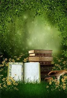 CSFOTO 5x7ft wonderland backdrop Fairy Land Magic Forests Fairy Land Books Mushroom Flowers Magic Enchanted Fairy Tale Bokeh Child Kid Toddler Photo Birthday Party Studio Props Polyester Wallpaper