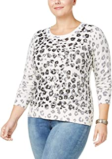 INC Womens Plus Wool Sequined Pullover Sweater White 0X