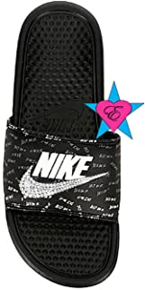 940191fa346b Bedazzled Glitter Just Do It Black Nike Benassi JDI Print Sport Slides