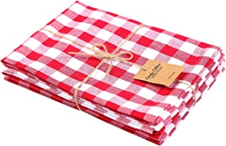 Cotton Dinner napkin,Dinner napkins, Gingham Checks Red and White, Pack of 6, 100% pure cotton, 18