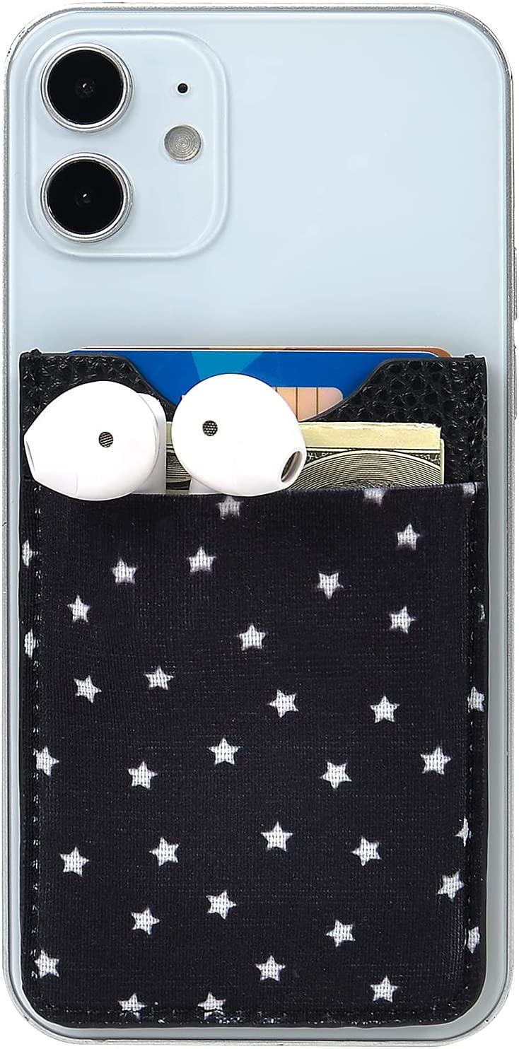 Phone Wallet, Senose Double Pocket Credit Card Holder for Phone Case or Back of Phone, Cute Adhesive Phone Card Holder Stick On, Compatible with iPhone, All Cell Phones