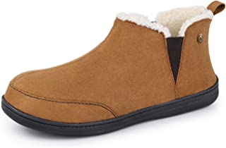 VeraCosy Men's Micro Suede Sheepskin Hi-Top Slippers with Elastic Dual Gores