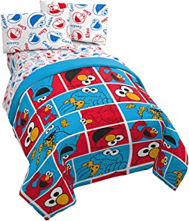 Jay Franco Sesame Street Elmo Cookie Squares Twin Comforter - Super Soft Kids Reversible Bedding - Fade Resistant Polyester Microfiber Fill (Official Sesame Street Product)