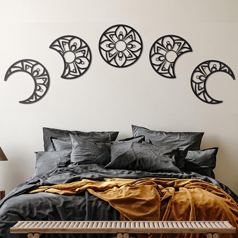 Moon Phase Wall Hanging, Lunation Moon Wooden Wall Art, Wooden Bohemian Moon, Set of 5 Moon Phase, Hippie Decor, Mandala Moon Decor