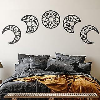 Moon Phase Wall Hanging, Lunation Moon Wooden Wall Art, Wooden Bohemian Moon, Set of 5 Moon Phase, Hippie Decor, Mandala M...