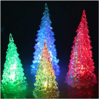 2 Pieces Acrylic Christmas Tree LED Colorful Lights Home Holiday Decor Christmas Lamp for Holidays Accessories Night Light