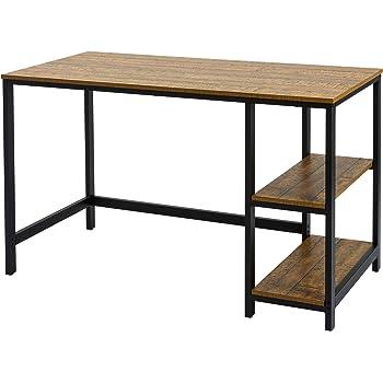 Meerveil Mesa Escritorio, Mesa Ordenador Escritorio Clásico con 2 Estantes de Ahorro Estructura Metálica Aglomerado 120 * 60 * 75cm: Amazon.es: Hogar