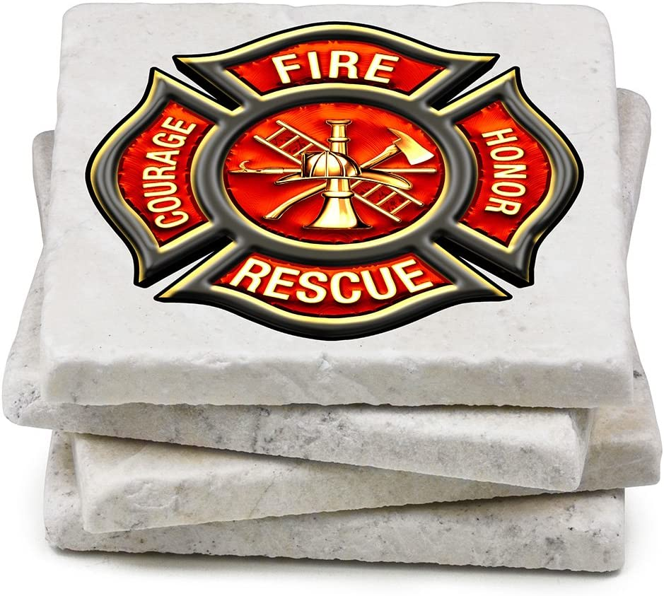 Natural Stone Coasters – famous Firefighter New mail order Gifts Men or Em Women for