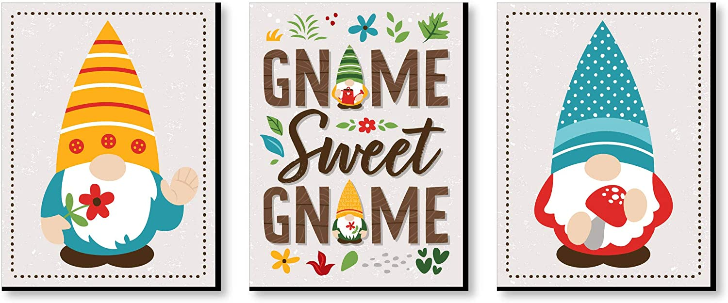 Big Dot of Happiness Garden Gnomes - Forest Gnome Wall Art and Kids Room Decor - 7.5 x 10 inches - Set of 3 Prints