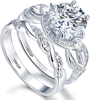 White Gold Plated 18K 3 Microns Thickness Over Sterling Silver Solid 925 Engagement Wedding Rings Set Women 8 mm 2.0 Carats Cubic Zirconia 5A Bridal Marriage Proposal Valentines