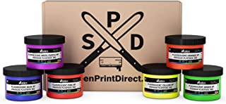 Ecotex Fluorescent Ink Color KIT - Plastisol Ink for Screen Printing 6 Colors - 8 Oz Bottles