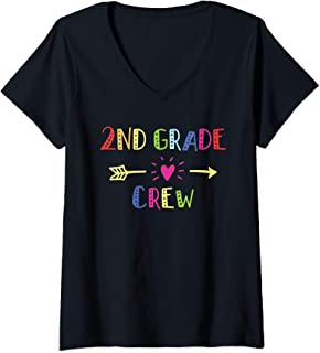 Womens 2nd Second Grade Crew Last Day Of School Teacher Student V-Neck T-Shirt