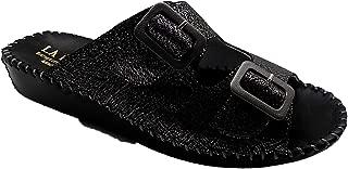 La Plume JEN Womens Leather Buckle Platform Comfort Casual Slides Sandals