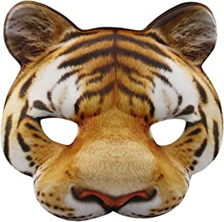 Jacobsen Hat Company Tiger Half Mask Realistic Look Soft Foam Face Mask Halloween Costume Accessory