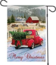 Merry Christmas Garden Flag Red Truck Vintage Tree - Home Xmas Quote House Yard Flag Pickup - Double Sided Burlap Rustic Winter Garden Yard Decorations, Vintage Seasonal Outdoor Flag 12 x 18 Holiday