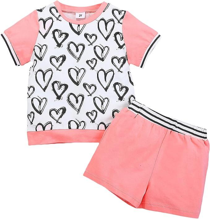 Maacie Kids Cotton Outfits Girls Short Sleeve Crew Neck Tops+Shorts 2pcs Set