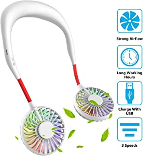 Hand Free Mini USB Personal Fan - Rechargeable Portable Headphone Design Wearable Neckband Fan,3 Level Air Flow,7 LED Lights,360 Degree Free Rotation Perfect for Sports, Office and Outdoor (White)