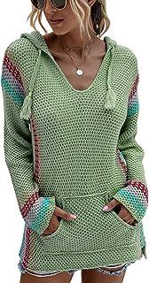 OrientalPort Felpa con cappuccio da donna, con scollo a V, a maglia, a maniche lunghe, casual, a righe