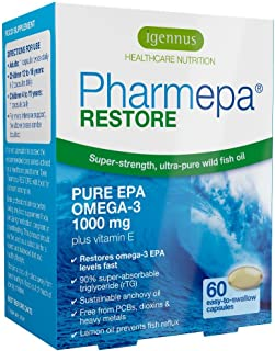 Pharmepa Restore Pure EPA Omega-3 Fish Oil, 1000mg EPA per Serving, Mood & Heart, 60 softgels