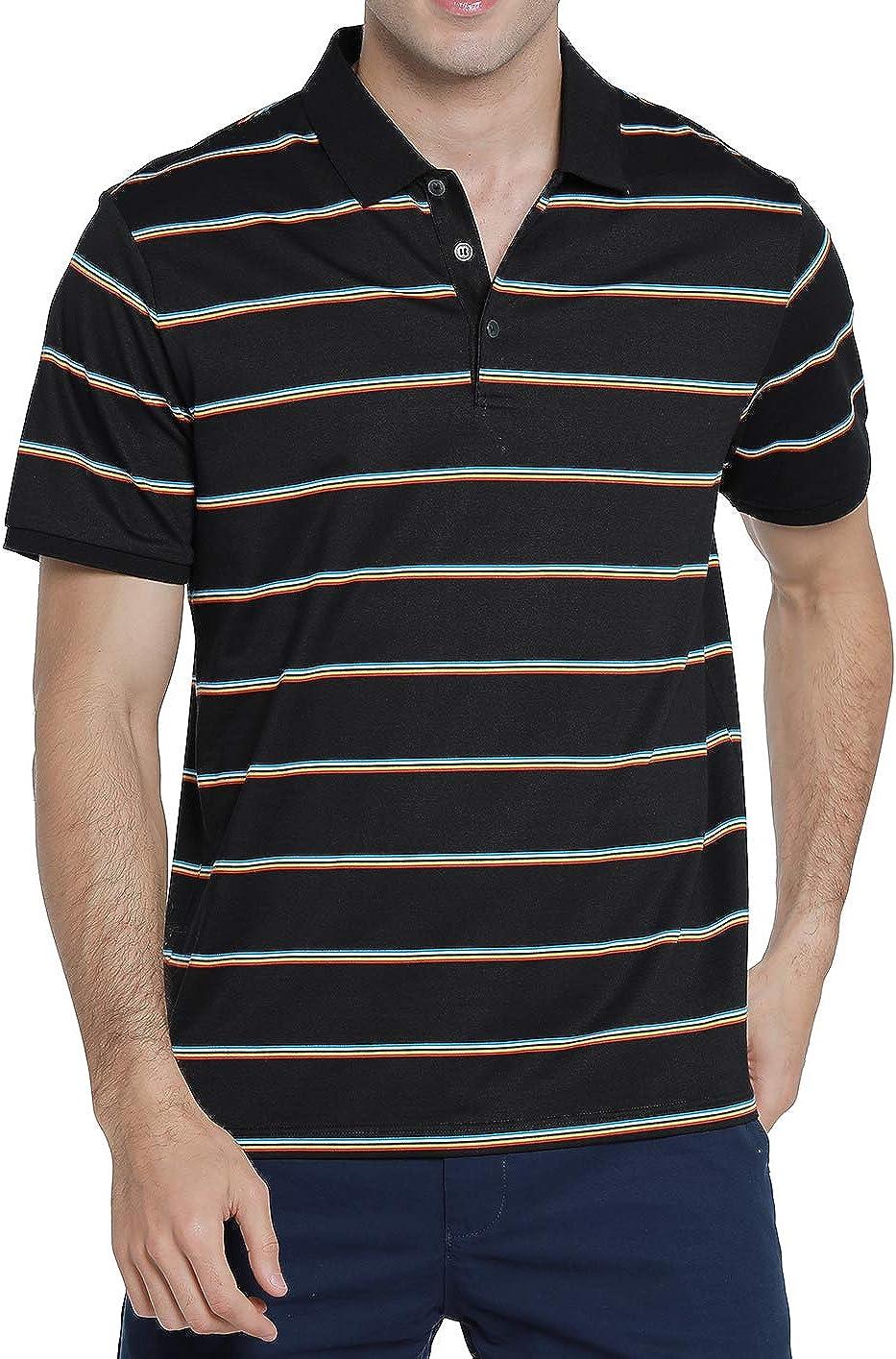 Dronkon Men's Memphis Mall depot Short-Sleeve Golf Stripe Polo Blend Shirts Cotton