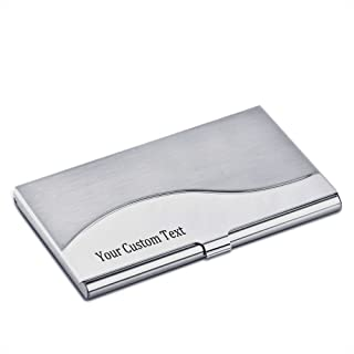 Personalized Stainless Steel Business Card Case Holder Engraved with Your Custom Text