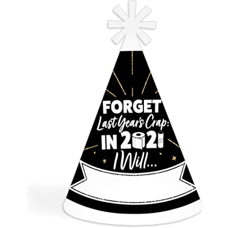 Big Dot of Happiness Rollin' in The New Year - 2021 New Year's Eve Resolution Cone Party Hat for Kids and Adults - Set of 8 (Standard Size)