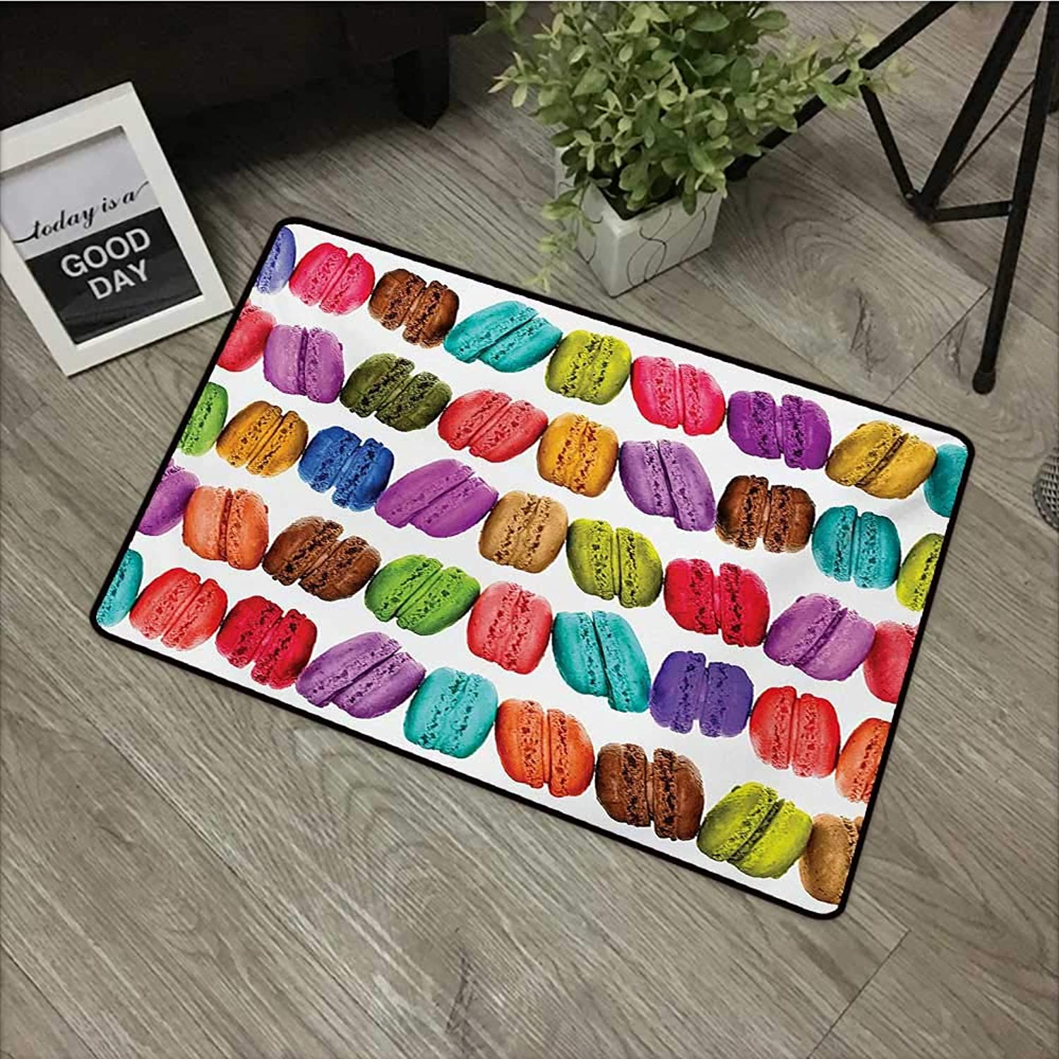 Hall mat W35 x L59 INCH colorful,French Macarons in a Row Coffee Shop Cookies Flavours Pastry Bakery Food Design,Multicolor Non-Slip, with Non-Slip Backing,Non-Slip Door Mat Carpet