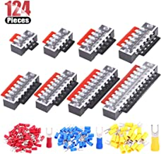 Hilitchi 124 Pcs (8 Sets) Terminal Block in Total, 600V 15A Dual Row Screw Terminals Strip with Cover, Pre-Insulated Terminal Barrier Jumper Strips Black Red and Bonus 100pcs Spade Fork Wire Connector