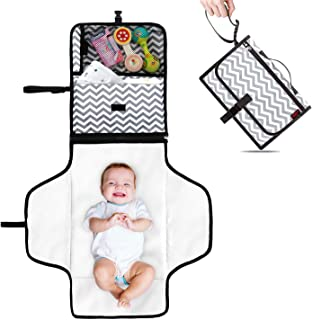 YASHINE Portable Baby Changing Pad Built-in Head Cushion Waterproof Travel Clutch Diaper Bag for Toddler, Clean Hands Mat Station Grey