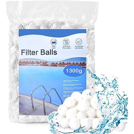 HUTHIM Filtre Balls Balles de Filtration, Filtre pour Piscine de 1300g Peut Remplacer 46 kg Sable Filtrant Sable de Quartz, Convient à Divers systèmes de Filtration Boules de Filtre de Piscine.