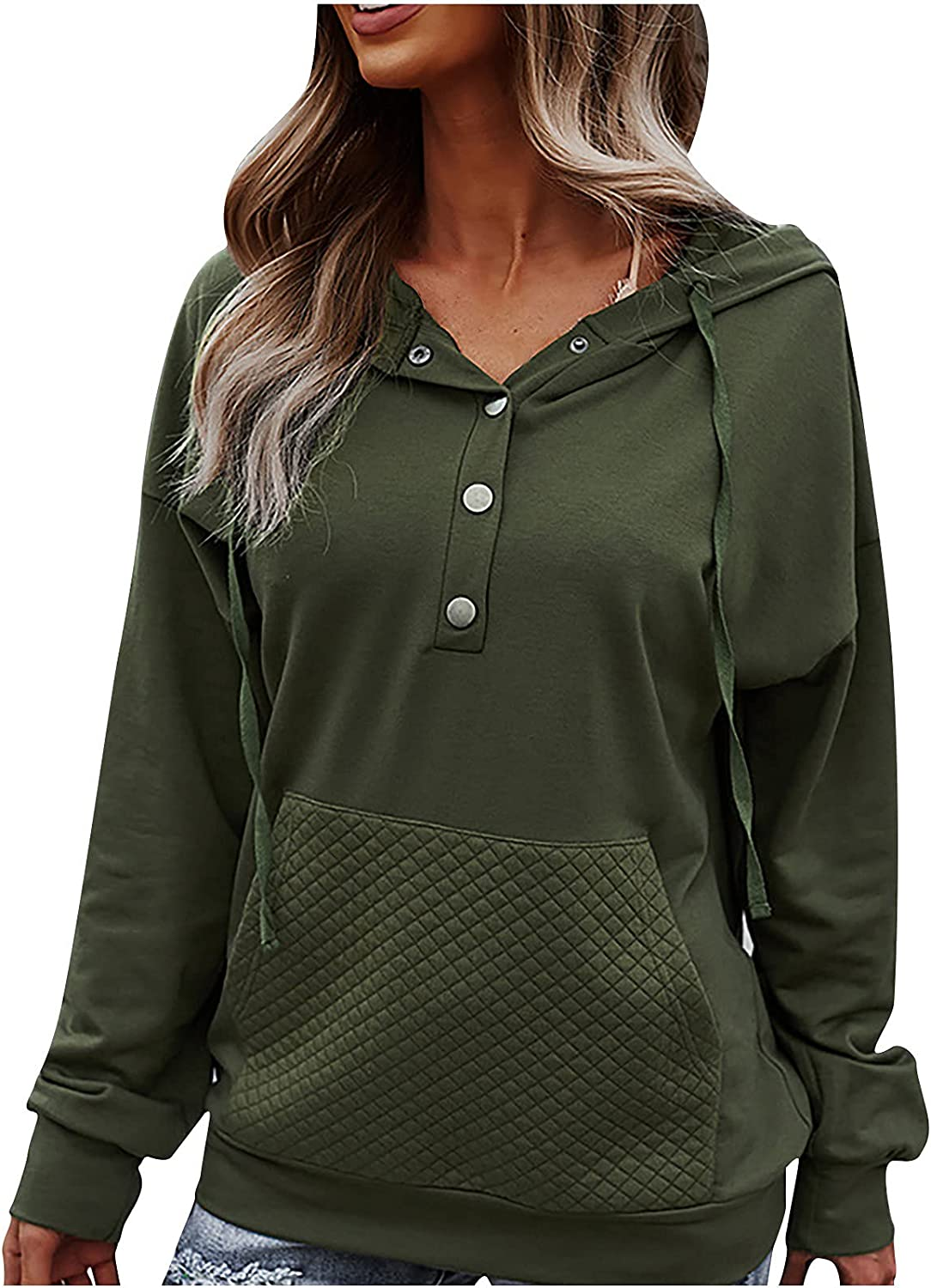 Womens Sweatshirt Soild Button Up Casual Long Sleeve Tshirts Oversized Comfy Pullover Patchwork Tops with Pocket
