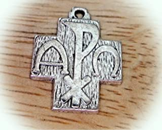 Pewter 20x16mm Chi Rho Alpha Omega Religious Symbol Cross Charm Vintage Crafting Pendant Jewelry Making Supplies - DIY for Necklace Bracelet Accessories by CharmingSS