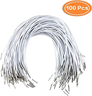 DLOnline 100Pcs 2mm Elastic Barbed Cord Stretch Round String with Silver Dual Metal Barbs for Mask Making, Binding, Hanging(30cm,White)