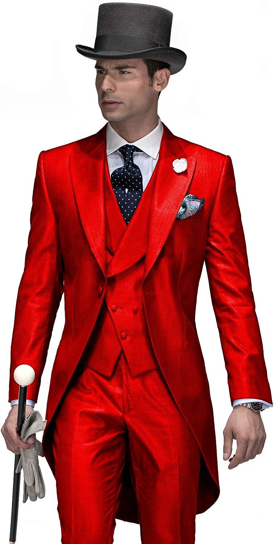 Sxfashbrd Mens Tailcoat Tux 3 Piece Slim Fit Blazer Suits Formal Jacket Long Tail Tuxedos Banquet Party Coats Outerwear