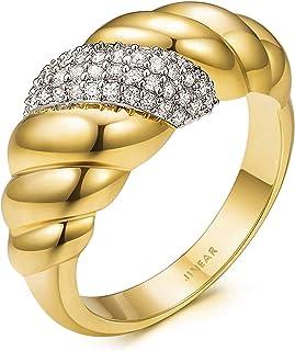 JINEAR مطلي بالذهب عيار 18 قيراط كرواسون مضفر ملتوي سيجنيت مقبب مكتنزة خاتم التكديس للنساء مجوهرات الحد الأدنى حجم 5 إلى 10