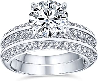 Personalize Traditional 3CT Cubic Zirconia Round Brilliant Cut Round Solitaire Pave Eternity Band AAA CZ Anniversary Weddi...